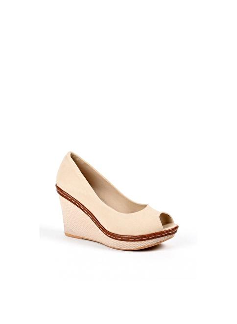 Sapin 25928  Bej Dolgu Topuk Ayakkabı